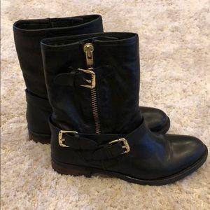 Dune London Robbin Leather Moto Boots